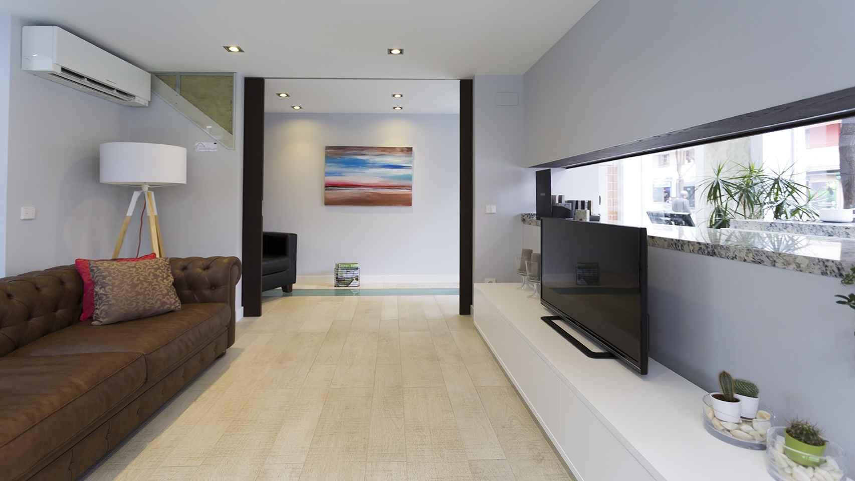 Ejemplo de salón instalado en la exposición en la sede de la empresa, en Madrid.