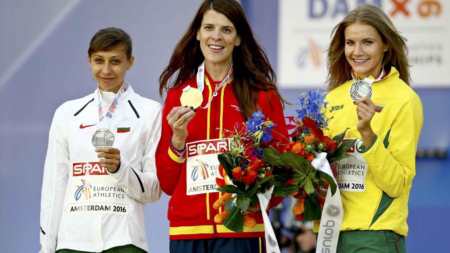 Demireva, Beitia y Palsyte, medallistas en salto de altura.