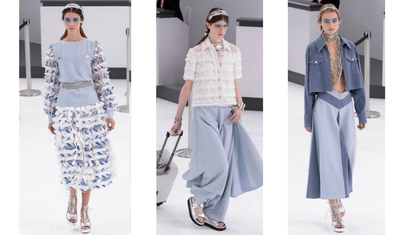 Modelos en azul serenidad del desfile Primavera/ Verano 2016 de Chanel.
