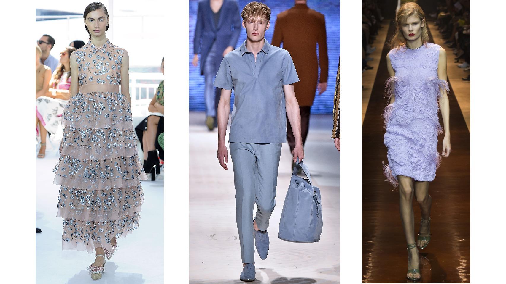 De izda. a dcha. Vestido de  Delpozo con flores azul serenidad; polo, pantalón y bolsa, todo en azul serenidad; y vestido de Nina Ricci, que combina este azul con el rosa cuarzo para crear un color nuevo. Todo de los desfiles Primavera/ Verano 2016.