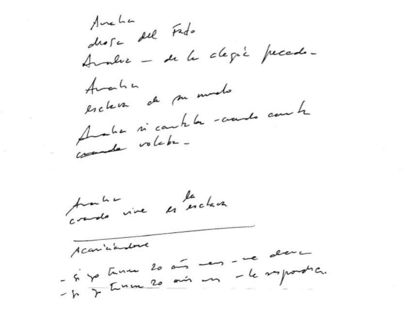 Carta manuscrita de Carlos Cano a Amália Rodrigues