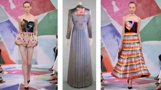 En el centro vestido que Elsa hizo con el artista Jean Cocteau y a ambos lados diseños del desfile OI 2016/2017.