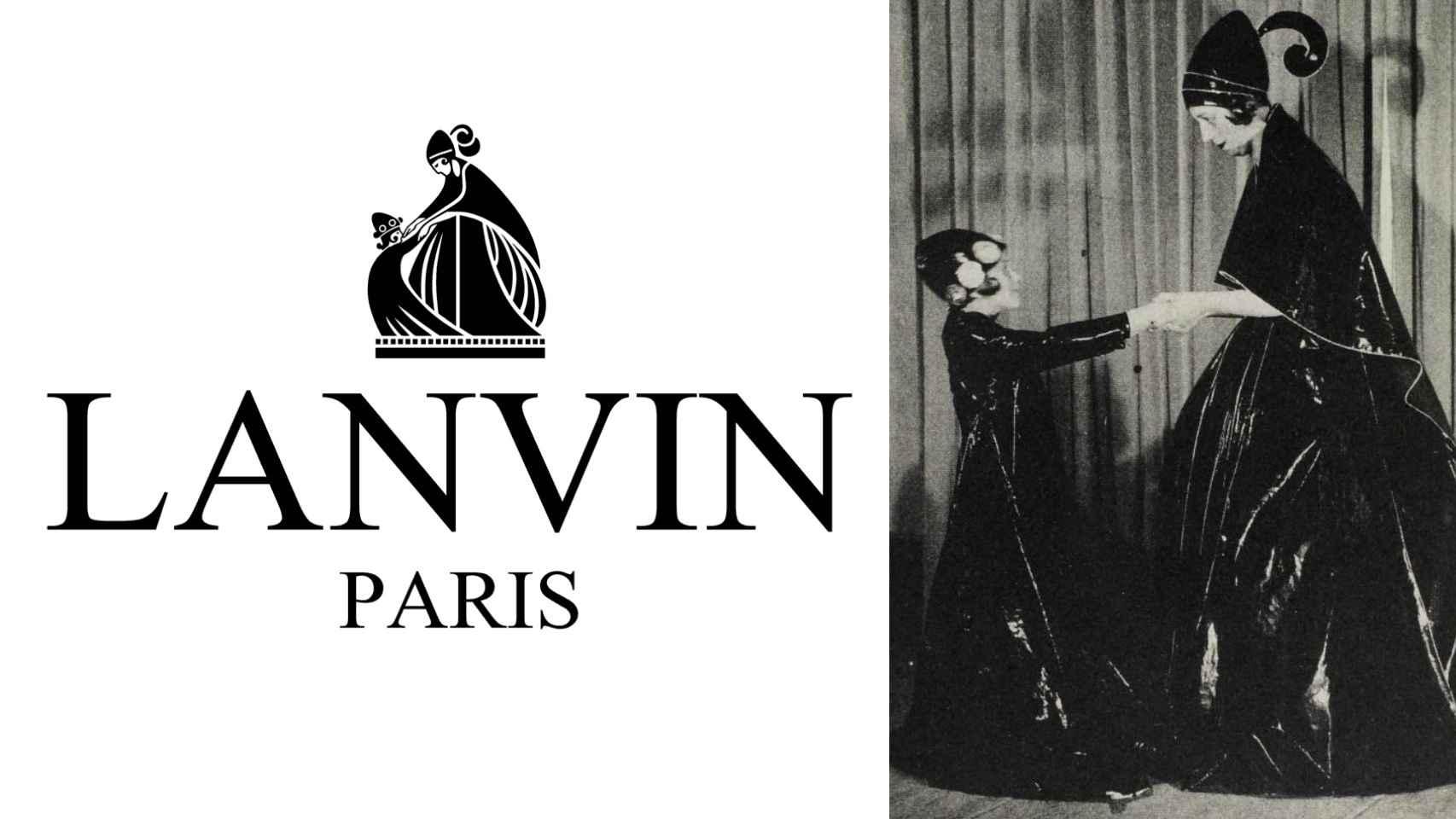 Jeanne Lanvin inspirando el futuro logo de su marca.