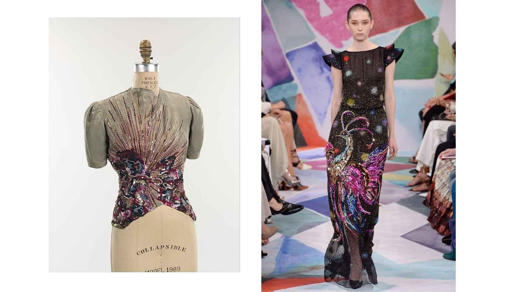 Explosión de color en los bordados de la chaqueta, original de la diseñadora surrealista, y la versión del siglo XXI de Bertrand Guyon.