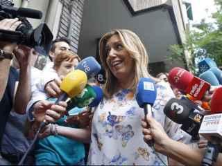 Susana Díaz, a su llegada a la sede del PSOE en la calle Ferraz.