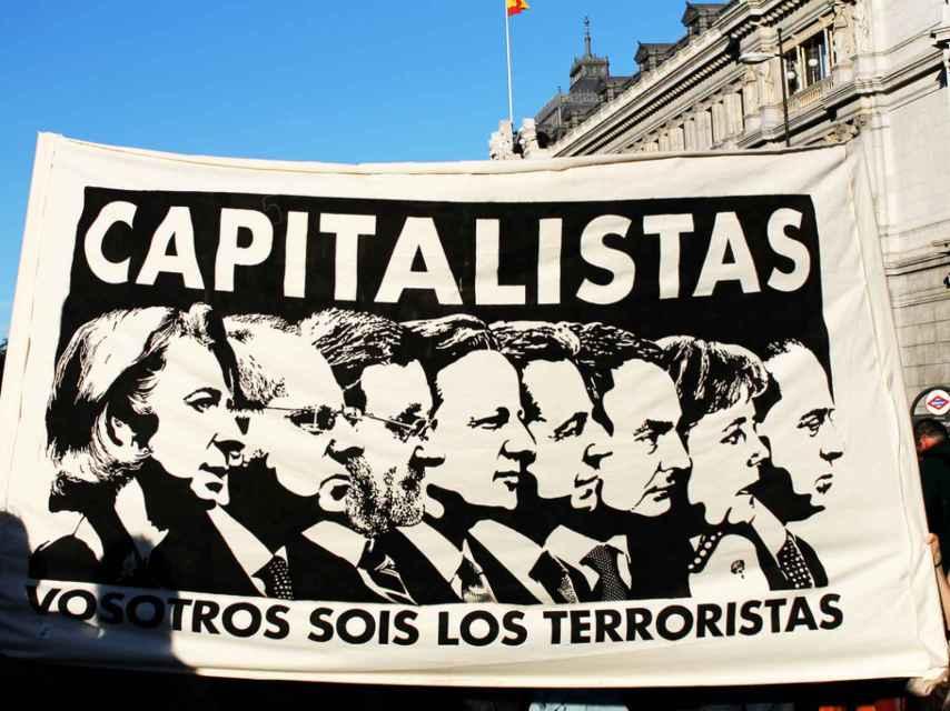 Pancarta Capitalistas, por Noaz para el 15-M.