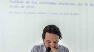El líder de Podemos, Pablo Iglesias, al inicio de la reunión del Consejo Ciudadano.