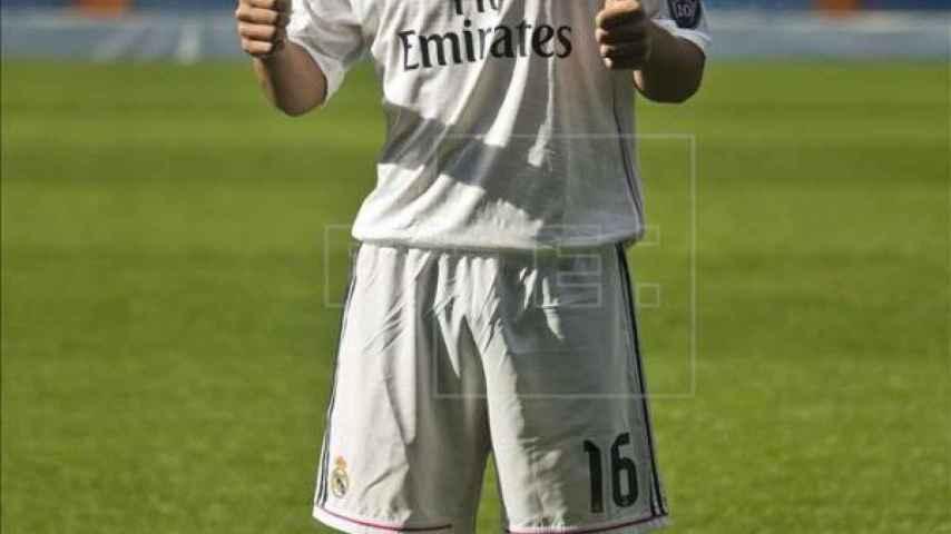 Lucas Silva el día de su presentación en el Real Madrid.