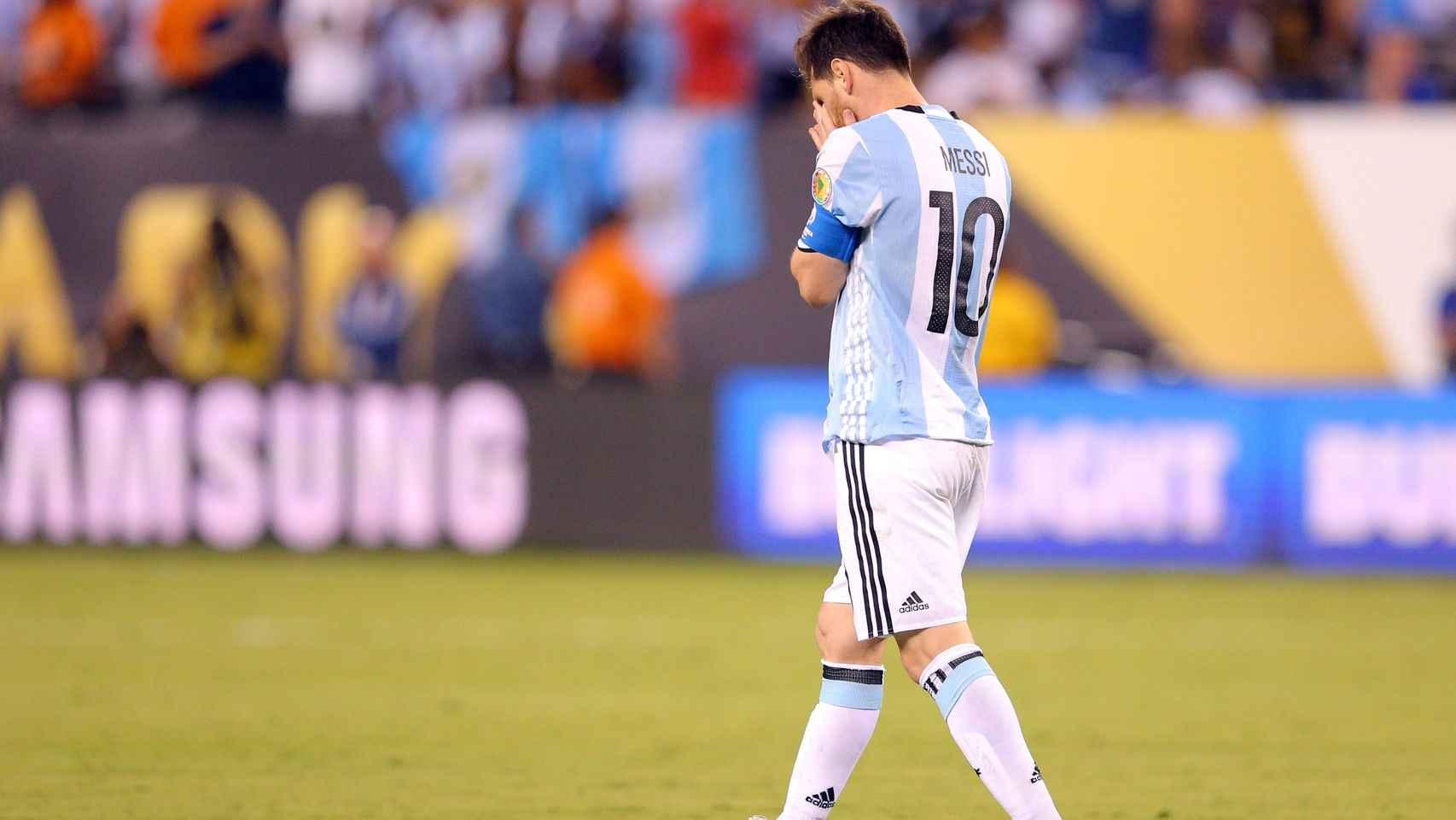 Messi, tras fallar su penalti en la final de la Copa América.