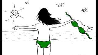 Ilustración de 'La chica del bañador verde'.