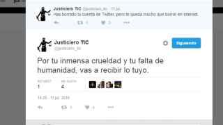 Uno de los mensajes que @justiciero_tic lanza a través de la cuenta de Twitter.