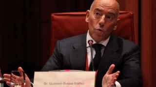 El empresario Gustavo Buesa en su comparecencia ante el Parlament.