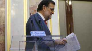 Mariano Rajoy, durante la rueda de prensa ofrecida en el Congreso.