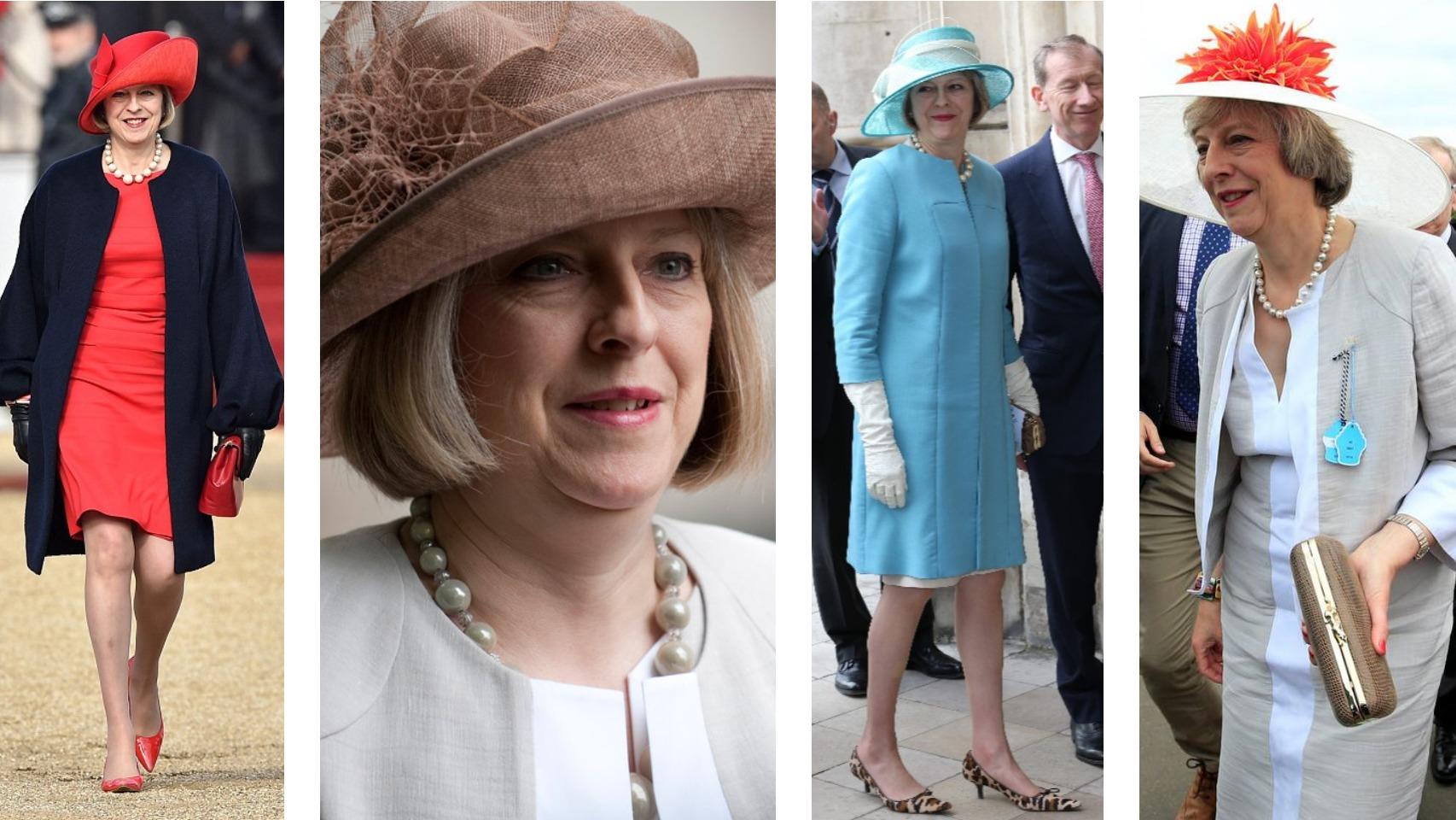 Theresa May, vestida de ceremonia y tocada con diferentes sombreros.
