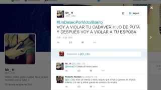 El tuit de Dr Odio amenazando con violar el cadñaver del torero y a la viuda