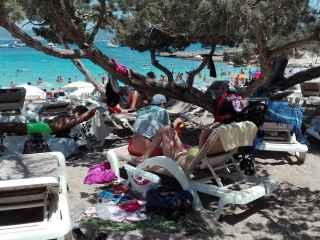 A pesar de la reducción del 10% de hamacas en las playas de San José (Ibiza), los isleños no notan que haya más espacio en las playas; muchos empresarios no respetan las concesiones.