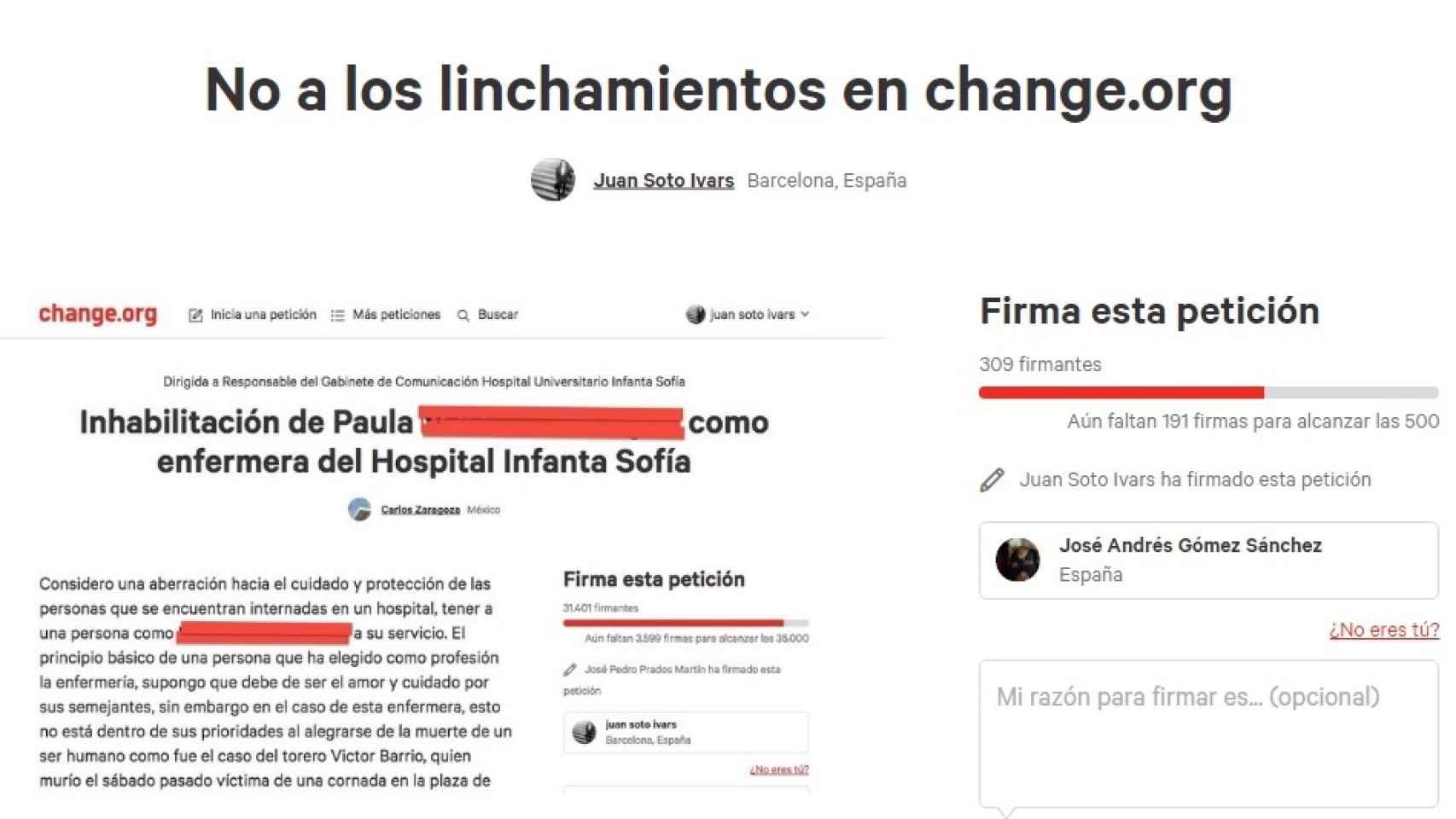 La petición que el periodista Juan Soto Ivars ha creado en Change.org.