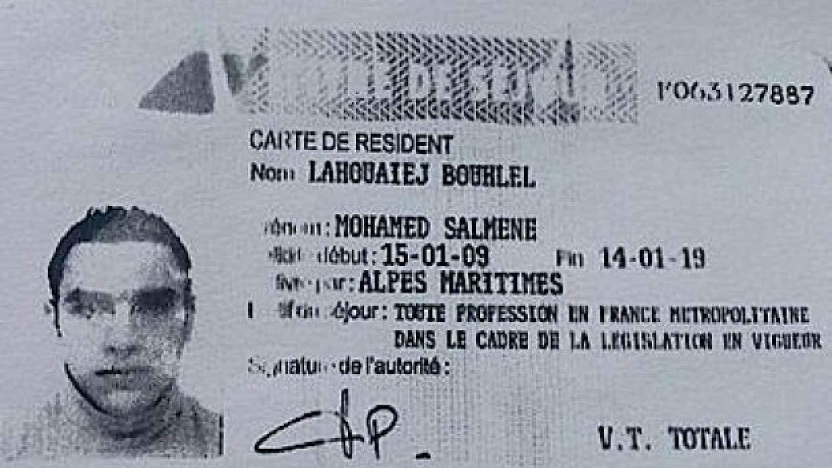 Carné de residente de Mohamed Lahouaiej Bouhlel, identificado como autor del atentado en Niza.