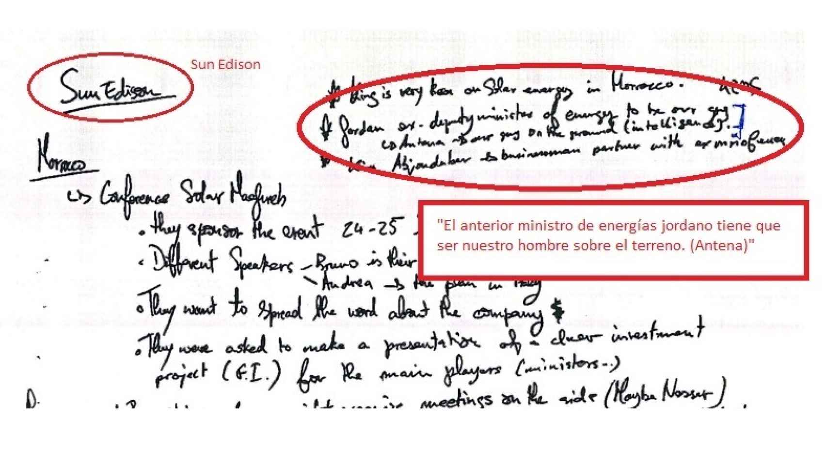 Uno de los manuscritos sobre las reuniones con Sun Edison