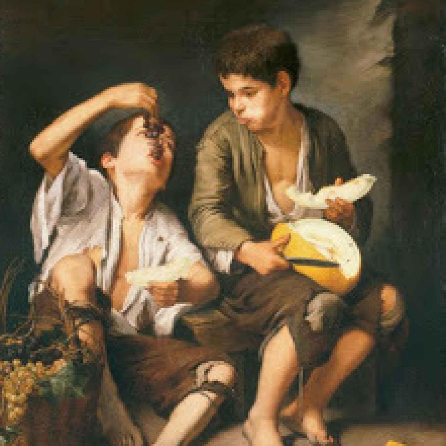 Niños comiendo uvas y melón, de Murillo, una representación de la picaresca.