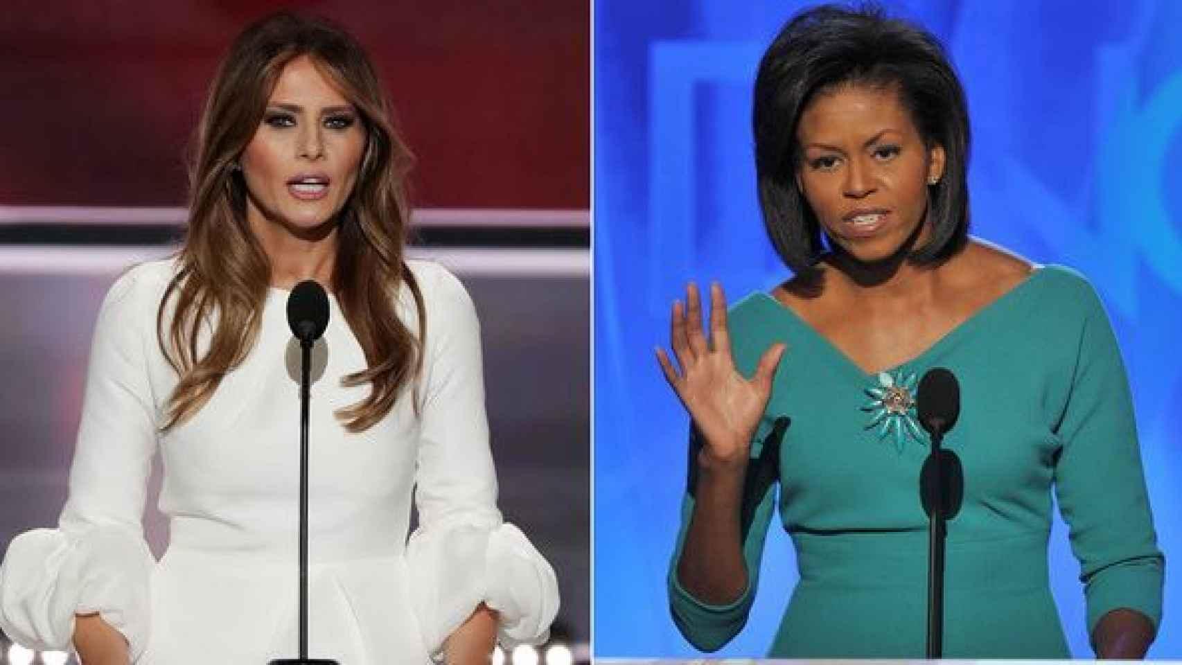 Melania Trump, en 2016; Michelle Obama, en 2008.