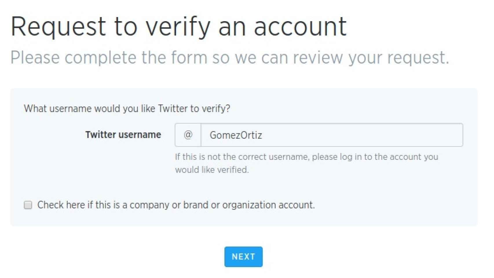 Formulario de verificación.