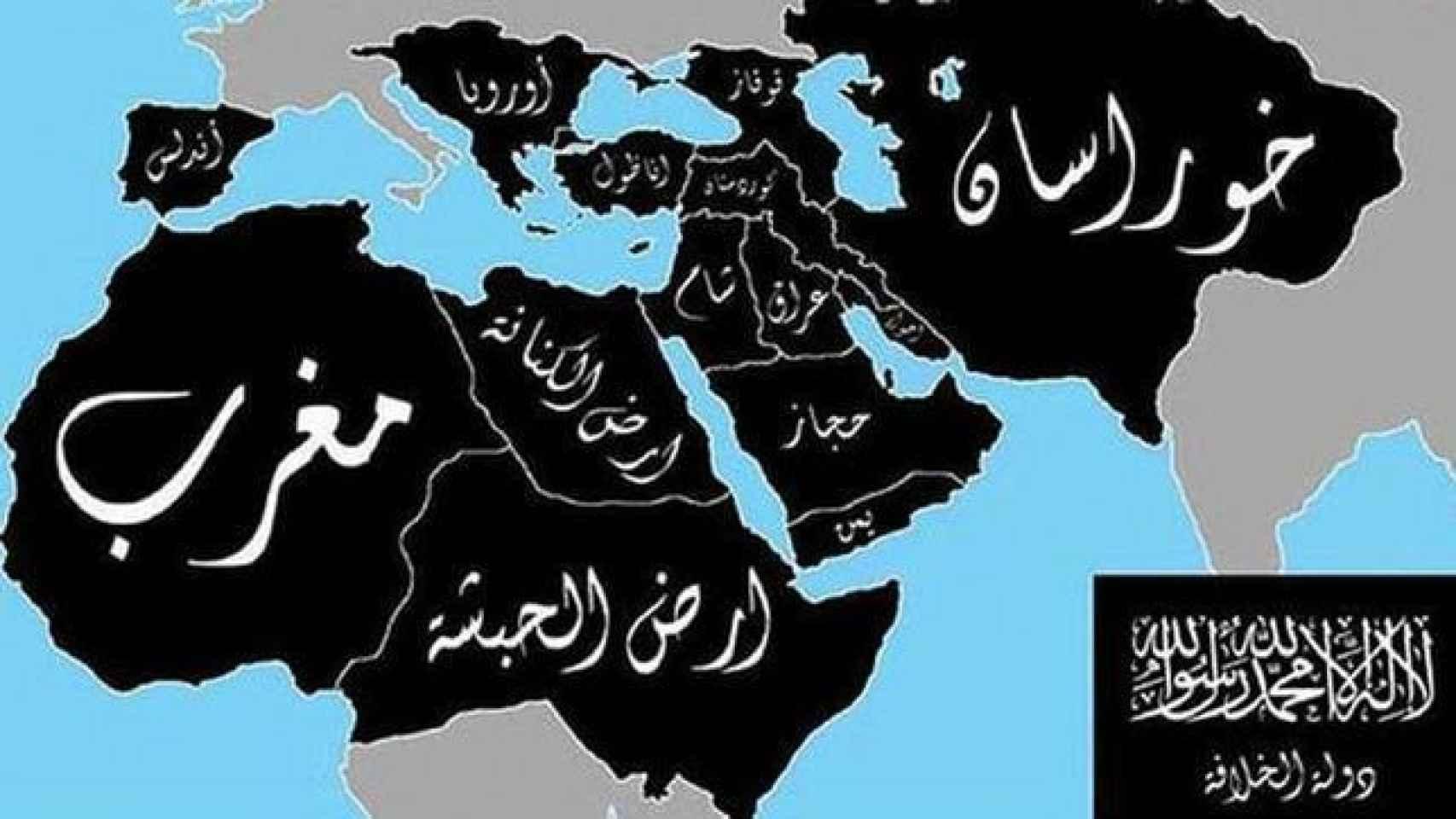 Mapa de la expansión pretendida por el Estado Islámico.
