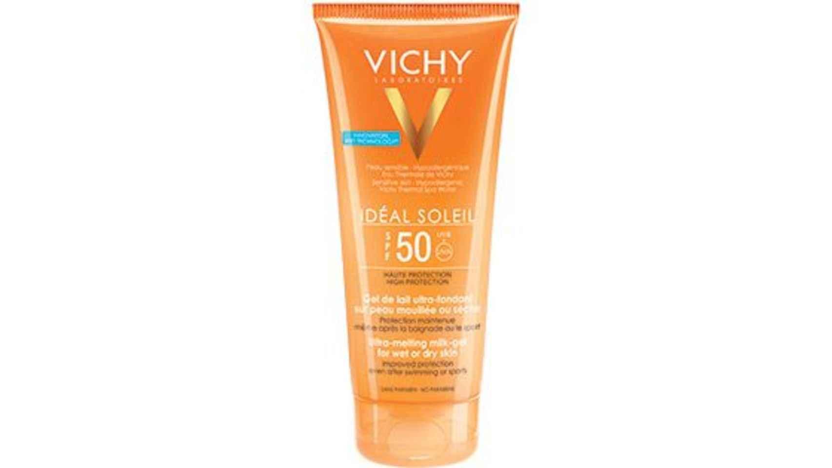 Gel ultra fundente SPF 50 para aplicar sobre piel seca o mojada de Vichy.