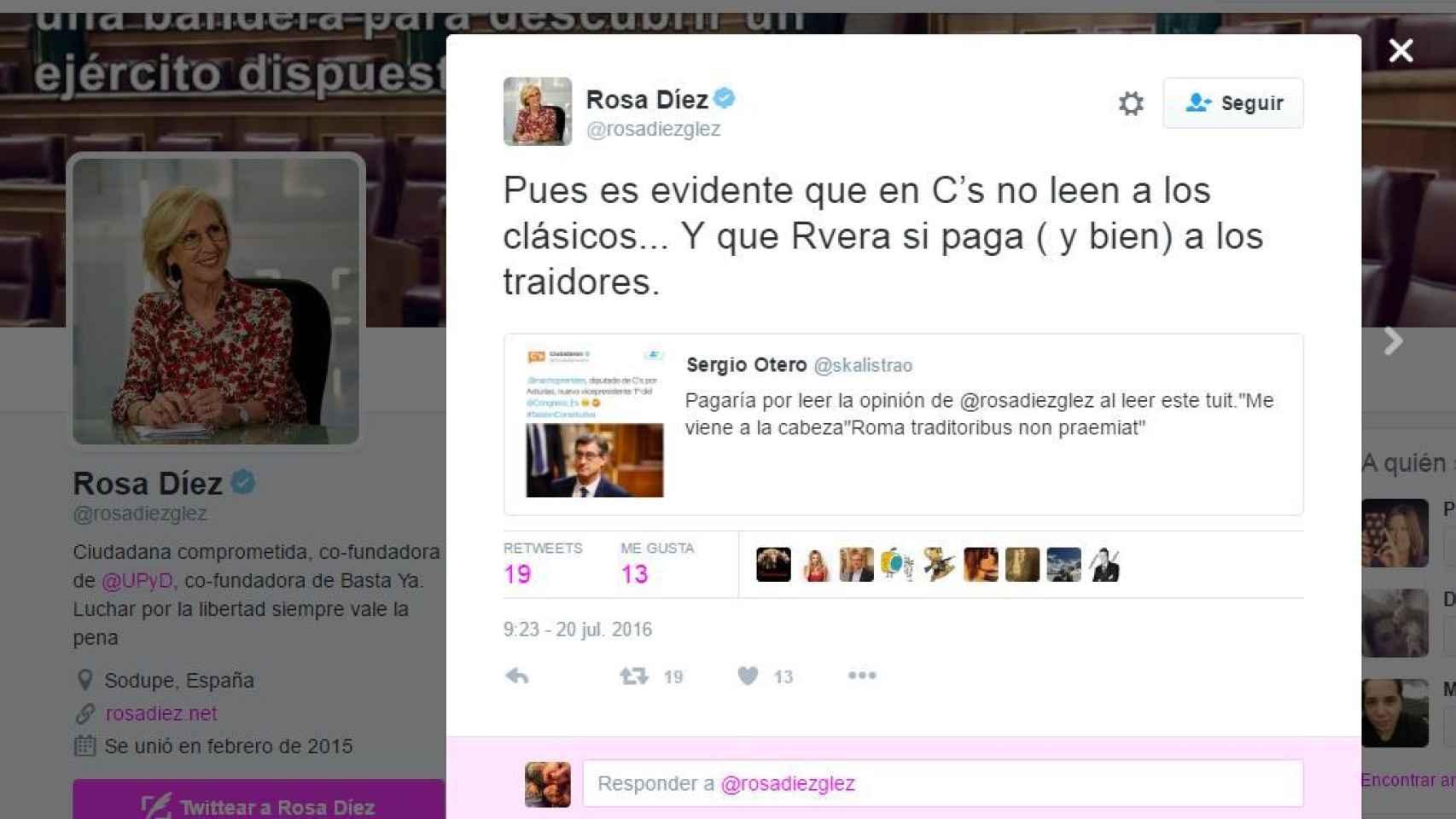 """Rosa Díez llama """"traidor"""" a Prendes y a Rivera, """"corruptor"""""""