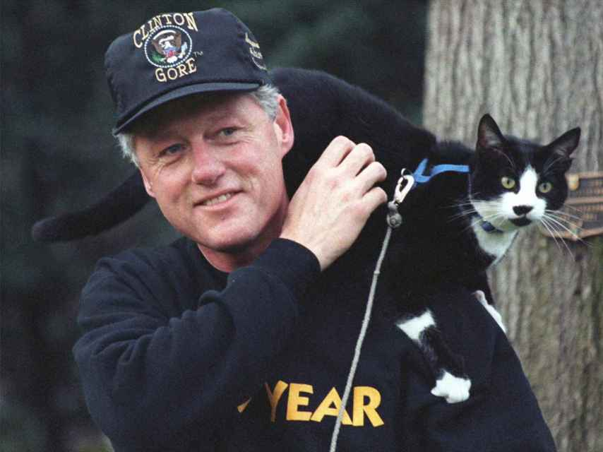 Bill Clinton con su gato 'Socks' en 1993.