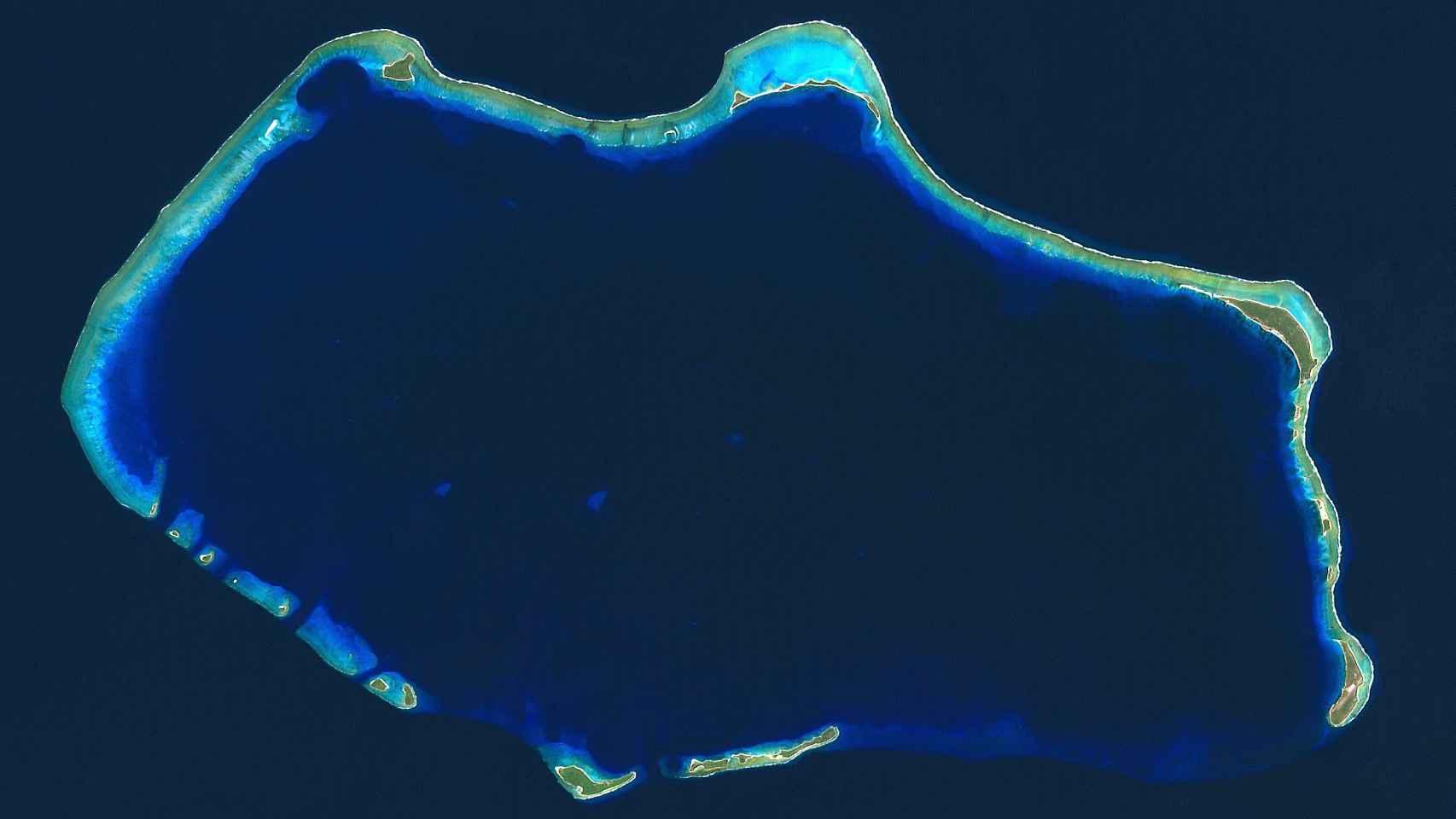 Aspecto del atolón en la actualidad.