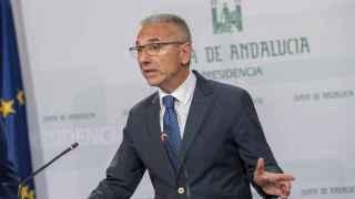 Miguel Ángel Vázquez, portavoz del Gobierno andaluz, tras su reunión de este martes.