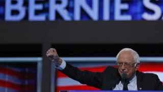 Bernie Sanders durante su discurso en la Convención Demócrata.