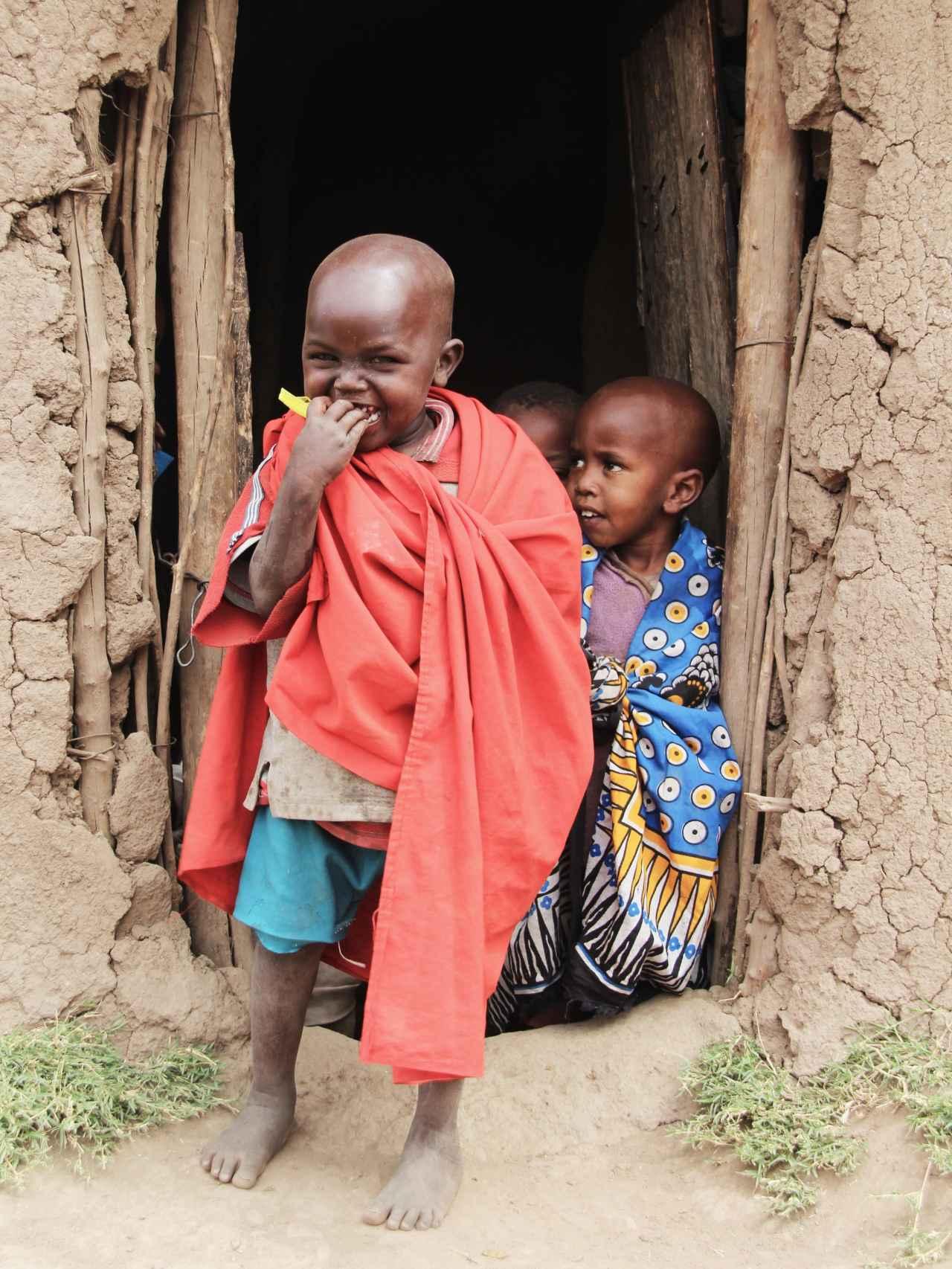 Niños masai en una aldea al oeste de Kenia, en la frontera con Tanzania.