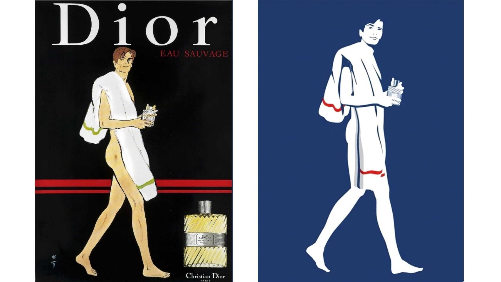 A la izquierda, la famosa ilustración de René Gruau con la que Dior anunció Eau Sauvage para su lanzamiento y, a la izquierda, la que aparece en el vídeo de su 50º aniversario.
