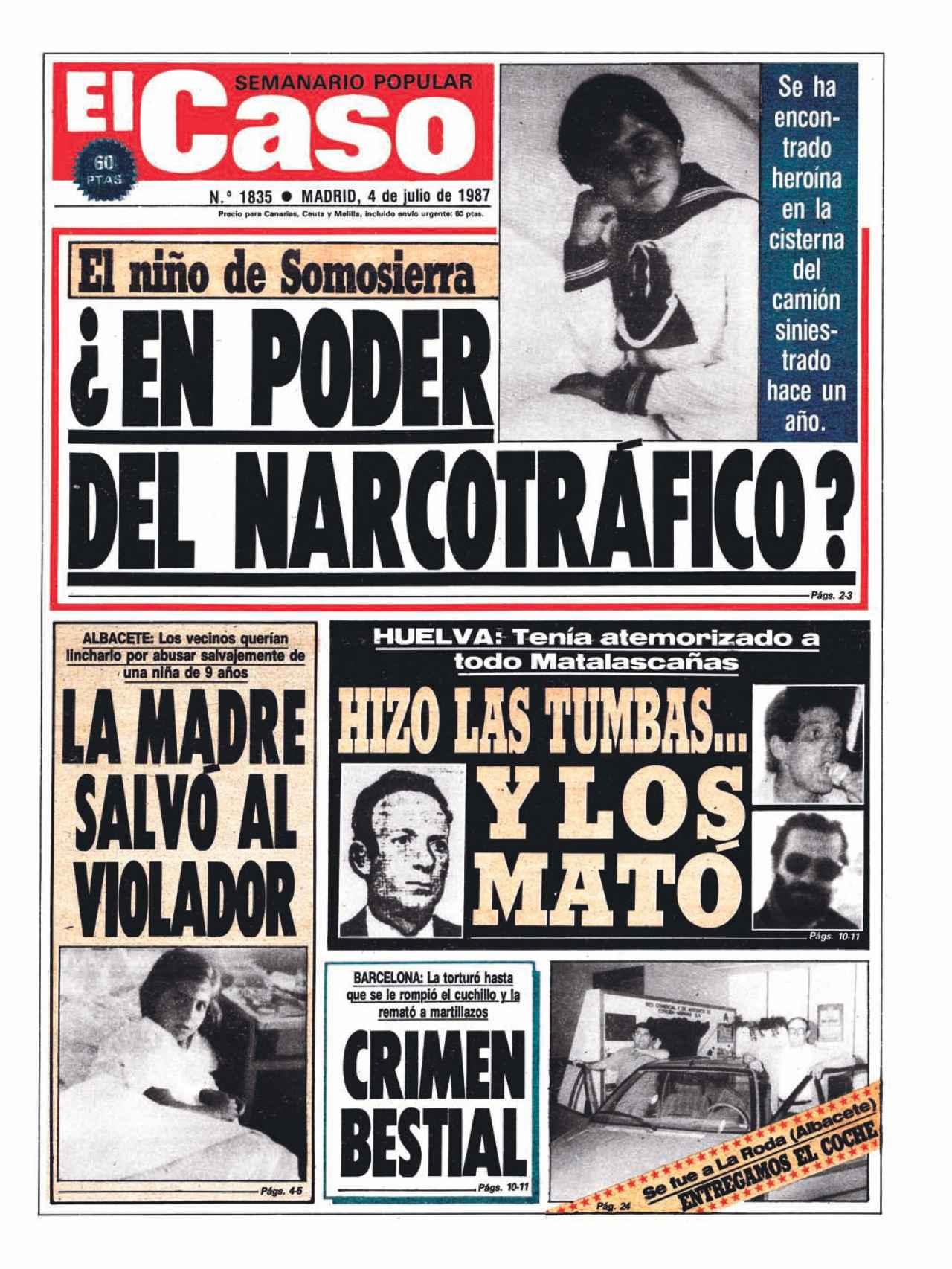 Portada de El Caso del 4 de julio de 1987 sobre el niño de Somosierra.