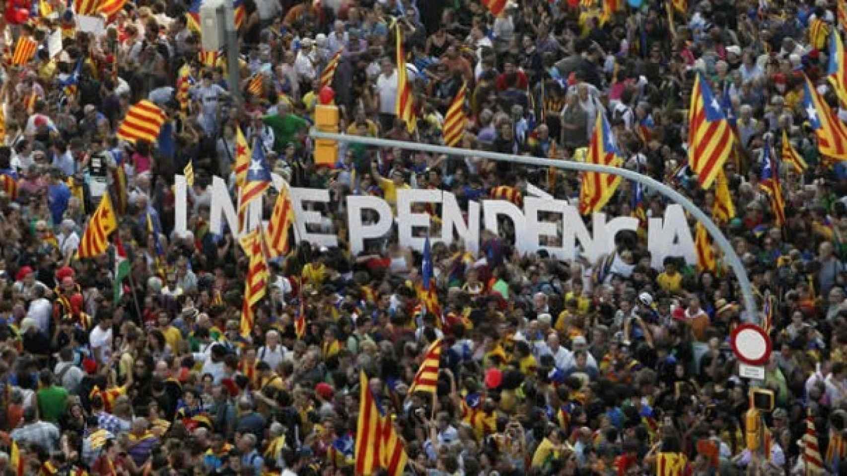 Manifestación por la independencia de Cataluña en la última Diada.
