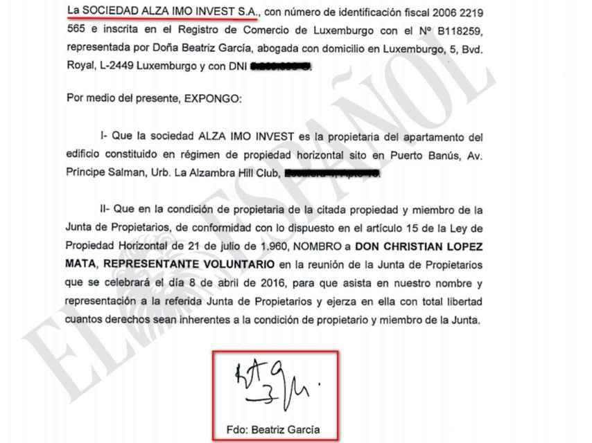 Documento de Beatriz García Paesa reconociendo la titularidad del inmueble.
