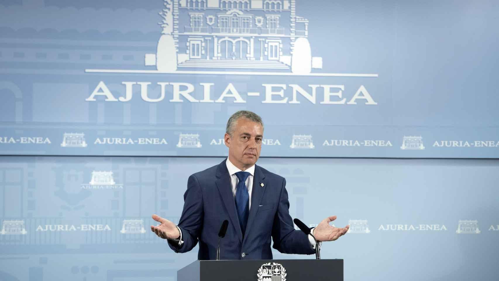 El lehendakari, Iñigo Urkullu, comparece ante los medios de comunicación.