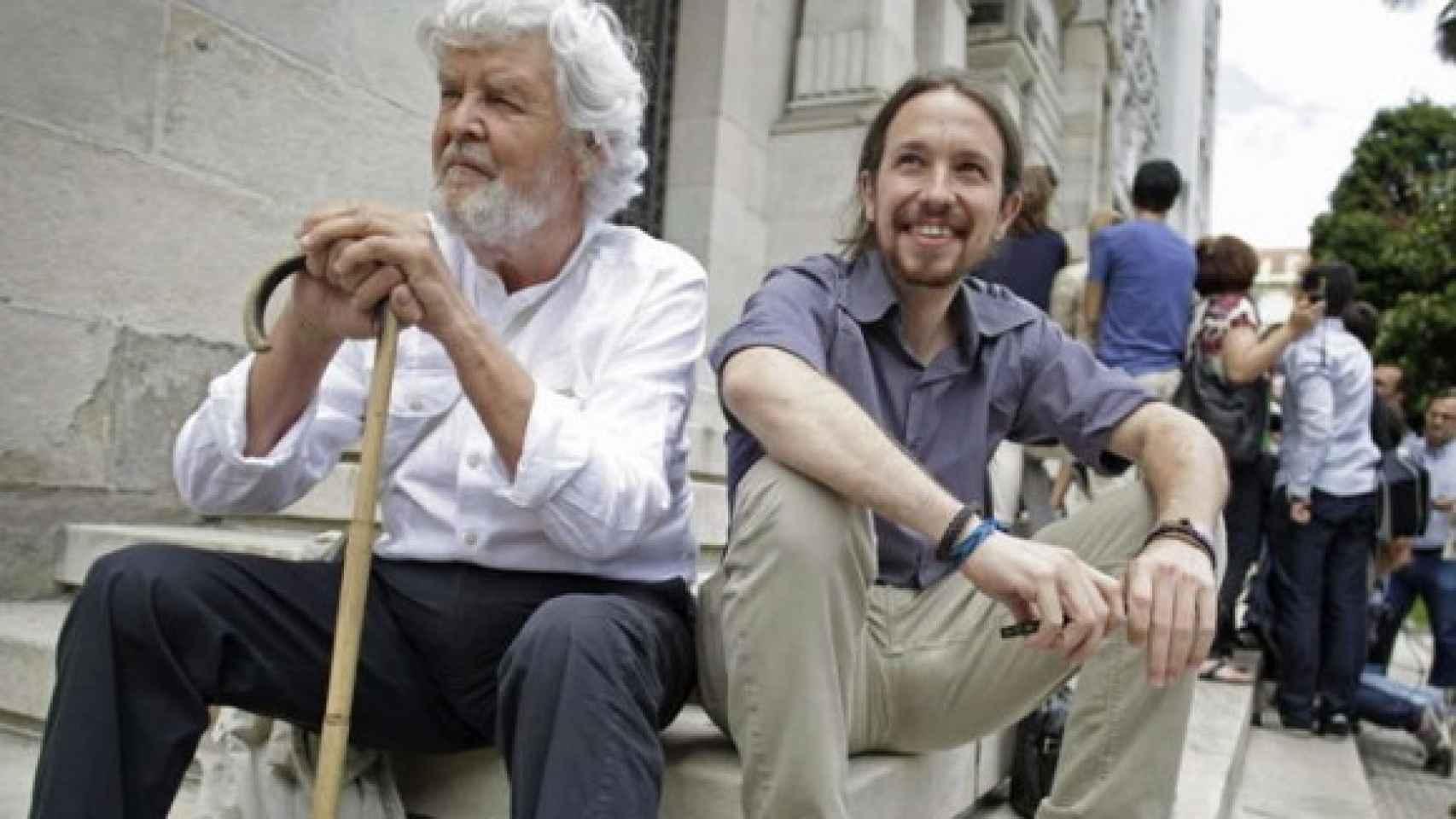 Iglesias y Xosé Manuel Beiras, en un encuentro entre las confluencias.