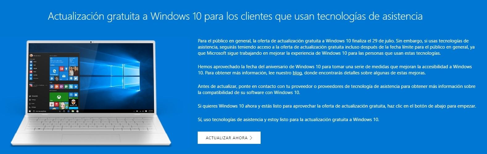 windows 10 actualizacion asistencia