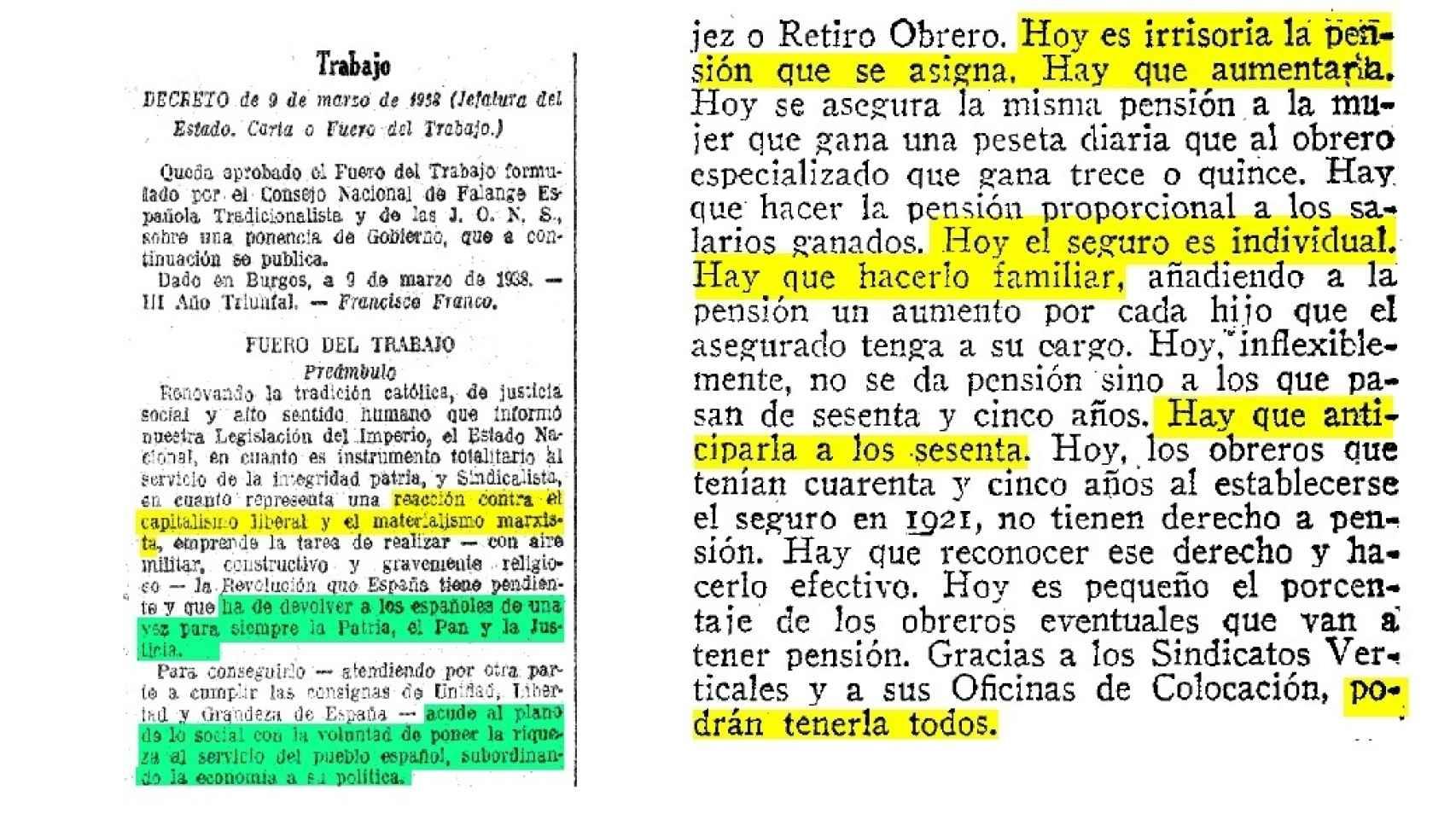 Extracto del Fuero de los españoles decretado por Francisco Franco el 9 de marzo de 1938.