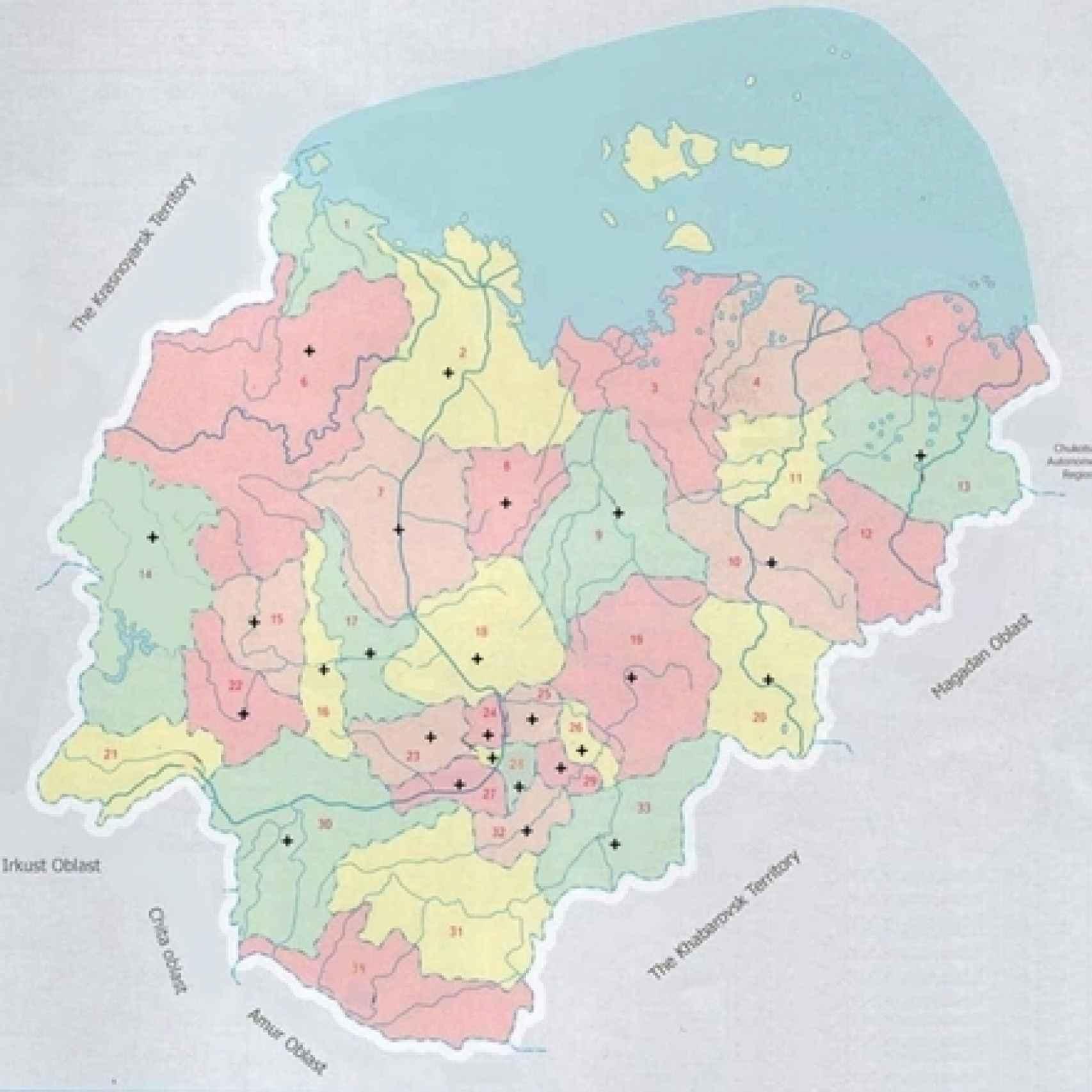 En rojo, zonas de Yakutsk que han registrado aumento de las temperaturas.