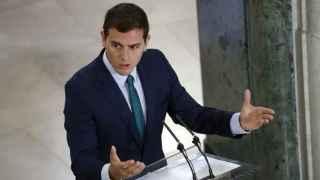 Rivera, en su comparecencia de prensa tras la reunión con Rajoy.