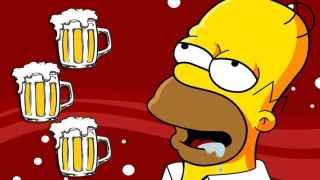 Homer, obnubilado ante unas cuantas jarras de cerveza.