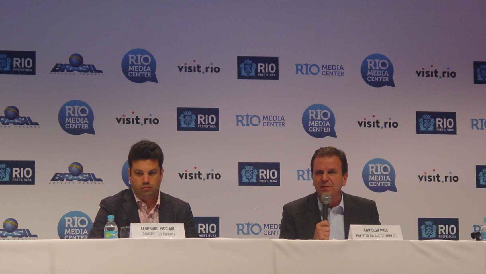 Rueda de prensa del alcalde de Río y del Ministro de Deportes.
