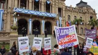 Manifestación pidiendo la libertad de Belén.