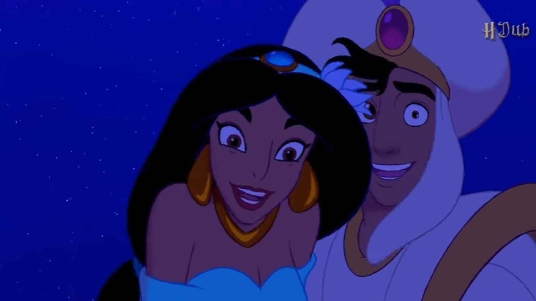 Aladdine y Jasmin en una de las escenas trucadas de Walt Disney Pichas.