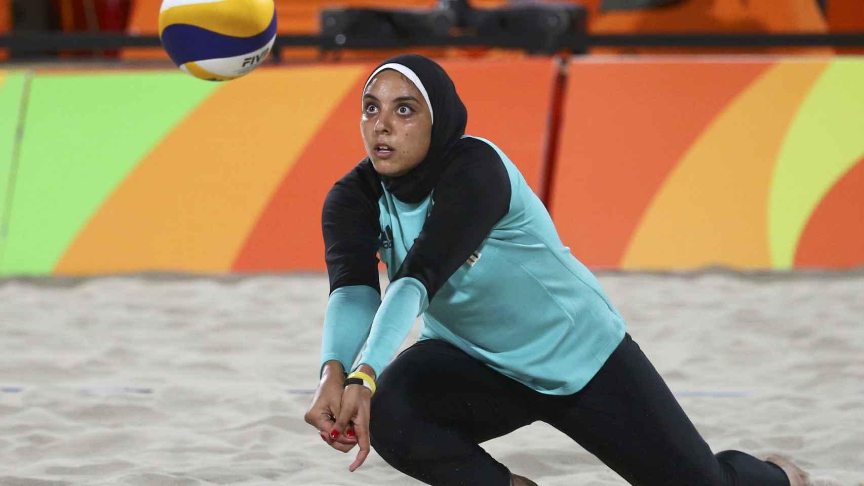 Doaa Elghobashy, en el encuentro ante las alemanas.
