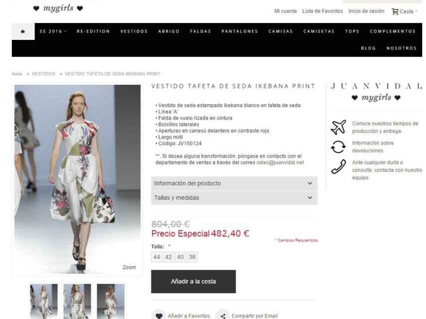 Página web donde se oferta el vestido que lució la reina consorte.